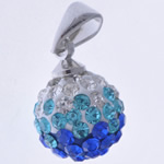 Rhinestone Pendant, Round, handmade, with rhinestone, 10x9mm, Hole:Approx 3x5mm, 10PCs/Bag, Sold By Bag