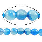 Natural Blue Agate Beads, Round, faceted, blue, 8mm, Hole:Approx 1mm, Length:Approx 15 Inch, 5Strands/Lot, Sold By Lot