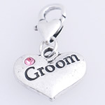 Zinc Alloy Lobster Clasp Charm, Heart, nickel, lead & cadmium free, 28x16x3mm, Hole:Approx 4mm, 10PCs/Bag, Sold By Bag