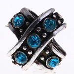 Zinc Alloy European Beads, Cross, without troll & with rhinestone, water blue, nickel, lead & cadmium free, 10x10x11mm, Hole:Approx 5mm, 10PCs/Bag, Sold by Bag