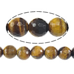 Natural Tiger Eye Beads, Round, machine faceted, earth yellow, 10mm, Hole:Approx 1mm, Length:Approx 15 Inch, 5Strands/Lot, Approx 37PCs/Strand, Sold By Lot