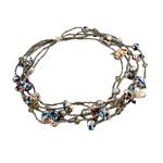 Kryształowy naszyjnik z perłami słodkowodnymi, Perła naturalna słodkowodna, ze Kryształ & Koraliki szklane, Mosiądz zapięcie, 13-27mm, sprzedawane na 17 cal Strand