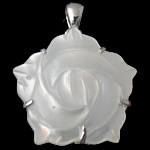 Natural White Shell Pendants, Flower, white, 24x24x6mm, Hole:Approx 5x4mm, Sold By PC