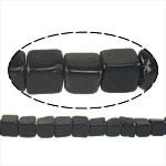 Black Stone Beads, Kubus, natuurlijk, 4x4x4mm, Gat:Ca 1mm, Lengte:Ca 16 inch, Ca 93strengen/Lot, Verkocht door Lot