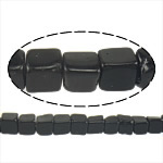 Black Stone Beads, Kubus, natuurlijk, 4x4x4mm, Gat:Ca 1mm, Ca 93pC's/Strand, Per verkocht Ca 16 inch Strand