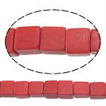 Koral syntetyczny Koralik, Kostka, czerwony, 4.50x4.50x4.50mm, otwór:około 1mm, około 94komputery/Strand, sprzedawane na około 15 cal Strand