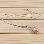 Srebrny naszyjnik z perłami, Perła naturalna słodkowodna, ze Srebro 925, Mosiądz zapięcie, Łezka, Platerowane kolorowym niklem, różowy, 11-12mm, sprzedawane na 15.5 cal Strand