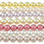 South Sea Shell Beads, Round, mixed colors, 8mm, Hole:Approx 0.8mm, Length:Approx 16 Inch, 10Strands/Bag, 50PCs/Strand, Sold By Bag