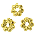 Zinc Alloy Spacer Beads, Flower, gold color plated, lead & cadmium free, 5x5x1.50mm, Hole:Approx 1mm, Approx 16666PCs/KG, Sold By KG