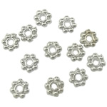 Zinc Alloy Spacer Beads, Flower, platinum color plated, lead & cadmium free, 4x4x1.50mm, Hole:Approx 1mm, Approx 16666PCs/KG, Sold By KG