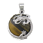 Natural Tiger Eye Pendant, with dragon shape brass pendant setting, 27x21x6mm, Hole:Approx 6mm, Sold by PC