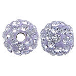 Czech Rhinestone Beads, Clay Pave, Round, with 50 pcs rhinestone & with Czech rhinestone, purple, 6mm, Hole:Approx 1mm, 10PCs/Bag, Sold By Bag
