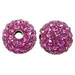 Czech Rhinestone Beads Clay Pave Round with 75 pcs rhinestone   with Czech rhinestone pink 8mm Hole:Approx 2mm 10PCs/Bag