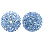 Czech Rhinestone Beads Clay Pave Round with 110 pcs rhinestone   with Czech rhinestone Lt Sapphire 12mm Hole:Approx 2mm 10PCs/Bag