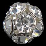 مجوهرات حجر الراين الخرز, النحاس, جولة, لون البلاتين مطلي, مع حجر الراين الصف, 20x20mm, حفرة:تقريبا 1.8mm, 20أجهزة الكمبيوتر/حقيبة, تباع بواسطة حقيبة
