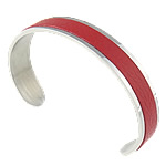 316L Stainless Steel Cuff Bangle, with Cowhide, red, 11.5mm, 62.5x43mm, Length:Approx 7.7 Inch, Sold By PC
