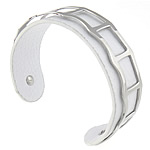 316L Stainless Steel Cuff Bangle, with Cowhide, white, 19mm, 62.5x48mm, Length:Approx 7.8 Inch, Sold By PC