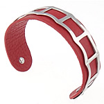 316L Stainless Steel Cuff Bangle with Cowhide red 19mm 62.5x48mm Length:Approx 7.8 Inch