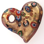 Millefiori Slice Lampwork Pendants, Heart, gold sand, 50.50x47x8mm, Hole:Approx 8.5mm, 10PCs/Bag, Sold By Bag
