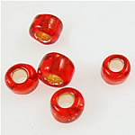 Silver Lined Glass Seed Beads, Glas rocailles, Ronde, rood, 2x1.90mm, Gat:Ca 1mm, Verkocht door Bag