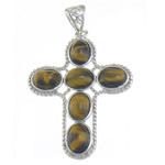 Natural Tiger Eye Pendant, Cross, with brass pendant setting, 32x44x4.7mm, Hole:Approx 8.3x5mm, 10PCs/Bag, Sold by Bag