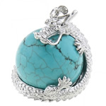 Turquoise Pendant, Natural Turquoise, with Brass, Dragon, 26x31mm, Hole:Approx 6.5x4mm, 10PCs/Bag, Sold By Bag