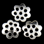 Iron Bead Caps, Flower, 7-petals, silver color, nickel, lead & cadmium free, 6x1mm, Hole:Approx 1mm, 10000PCs/Bag, Sold by Bag