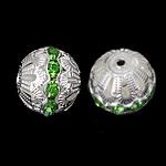 Ontto Brass Helmet, Messinki, Drum, hopea päällystetty, tekojalokivi, nikkeli, lyijy ja kadmium vapaa, 16x17mm, Reikä:N. 2.2mm, 100PC/laukku, Myymät laukku