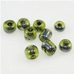 Szklane koraliki z kolorowa linią, Koraliki szklane, zielony, 3x3.60mm, otwór:około 1mm, sprzedane przez torba