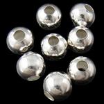 Żelazne koraliki, żelazo, Koło, Platerowane w kolorze srebra, bez zawartości niklu, ołowiu i kadmu, 4mm, otwór:około 1.5mm, 1000komputery/torba, sprzedane przez torba
