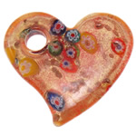 Millefiori Slice Lampwork Pendants, Heart, gold powder, 50.50x45x7.50mm, Hole:Approx 8mm, 10PCs/Bag, Sold By Bag