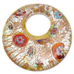 Millefiori Slice Lampwork Pendants, Donut, gold sand and silver foil, yellow, 52.80x9mm, Hole:Approx 19mm, 10PCs/Bag, Sold By Bag