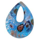 Millefiori Slice Lampwork Pendants, Teardrop, silver foil and gold powder, blue, 38.70x52x11.80mm, Hole:Approx 9.7x24mm, 10PCs/Bag, Sold By Bag