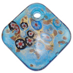 Millefiori Slice Lampwork Pendants, Rhombus, gold sand, 50x50.50x11mm, Hole:Approx 5.5mm, 10PCs/Bag, Sold By Bag