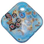 Millefiori Slice Lampwork Pendants, Rhombus, gold sand, blue, 50x50.50x11mm, Hole:Approx 5.5mm, 10PCs/Bag, Sold By Bag