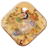 Millefiori Slice Lampwork Pendants, Rhombus, gold sand, yellow, 50x50.50x1mm, Hole:Approx 5.5mm, 10PCs/Bag, Sold By Bag