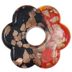 Gold Sand Lampwork Pendants, Flower, two tone, 55x8mm, Hole:Approx 14.5mm, 10PCs/Bag, Sold By Bag