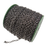 Iron Oval Chain, plumbum black color plated, nickel, lead & cadmium free, 5.50x7.50x1.40mm, Length:50 m