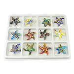 Millefiori Slice Lampwork Pendants, Star, gold sand, mixed colors, 55x53x9.50mm, Hole:Approx 7.5mm, 12PCs/Box, Sold By Box