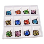 Inner Flower Lampwork Pendants, Rhombus, mixed colors, 48x37x11mm, Hole:Approx 5.5mm, 12PCs/Box, Sold By Box