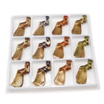 Gold Sand Lampwork Pendants, Twist, mixed colors, 62x25x14mm, Hole:Approx 6.5mm, 12PCs/Box, Sold By Box
