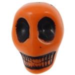 Antyczne koraliki akrylowe, Akryl, Czaszka, Nieprzejrzysty, imitacja antycznego, pomarańczowy, 12.50x10x12mm, otwór:około 2mm, 595komputery/torba, sprzedane przez torba
