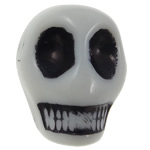 Antique Acrylic Beads, Skull, opaque, Imitation Antique, white, 12.50x10x12mm, Hole:Approx 2mm, 595PCs/Bag, Sold By Bag