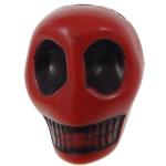 Antyczne koraliki akrylowe, Akryl, Czaszka, Nieprzejrzysty, imitacja antycznego, czerwony, 14x18x17.50mm, otwór:około 2.8mm, 187komputery/torba, sprzedane przez torba