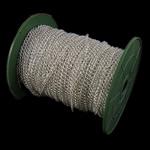 Żelazny drut na pętli, żelazo, Owal, Platerowane w kolorze srebra, bez zawartości niklu, ołowiu i kadmu, 3.70x5x0.90mm, długość:100 m, sprzedane przez PC