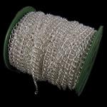 Żelazny drut na pętli, żelazo, Owal, Platerowane w kolorze srebra, bez zawartości niklu, ołowiu i kadmu, 6.80x8x1.60mm, długość:25 m, sprzedane przez PC