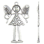 Character Shaped Zinc Alloy Pendants, Girl, antique silver color plated, nickel, lead & cadmium free, 50x77.50x4mm, Hole:Approx 4mm, Sold By PC