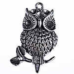 Zinc Alloy Pendant Rhinestone Setting Owl antique silver color plated lead   cadmium free 41.50x25.50x5.80mm Hole:Approx 2.5mm Approx 145PCs/KG