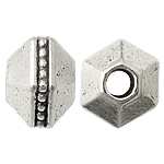 Zinc Alloy Jewelry Beads, Polygon, antique silver color plated, nickel, lead & cadmium free, 7x9.20mm, Hole:Approx 3mm, Approx 588PCs/KG, Sold By KG