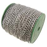 Iron Rhombus Chain, platinum color plated, nickel, lead & cadmium free, 7.40x8.40x1.20mm, Length:50 m